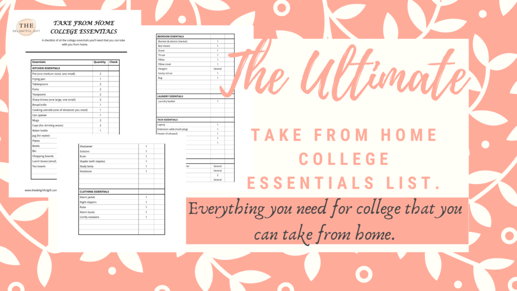 Take from home college essentials list